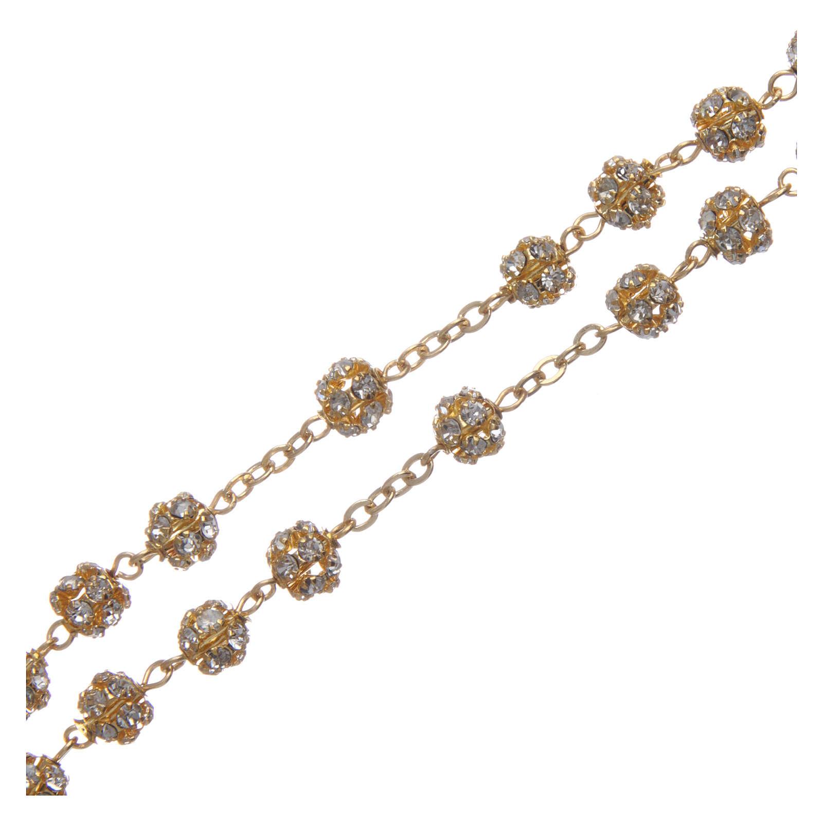 Rosario dorato con grani strass cristallo 6 mm 4