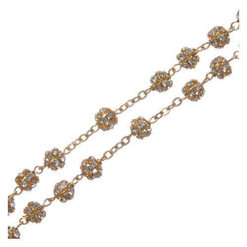 Rosario dorato con grani strass cristallo 6 mm 3