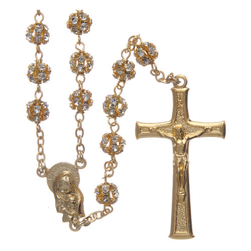 Gold rosary with strass crystal grains 6 mm 1