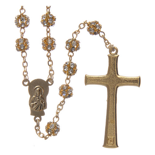 Gold rosary with strass crystal grains 6 mm 2