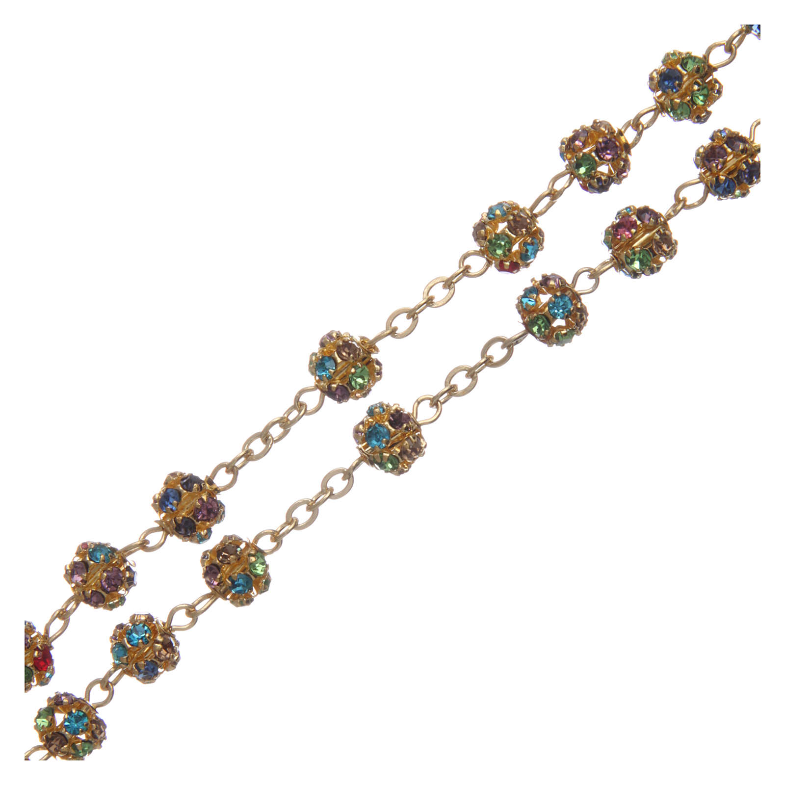 Gold rosary with strass grains multicoloured 6 mm 4