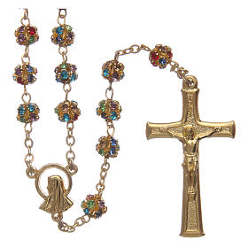 Gold rosary with strass grains multicoloured 6 mm s1