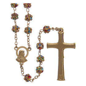 Gold rosary with strass grains multicoloured 6 mm s2