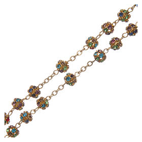 Gold rosary with strass grains multicoloured 6 mm s3