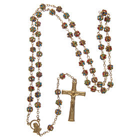 Gold rosary with strass grains multicoloured 6 mm s4