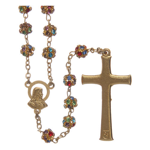 Gold rosary with strass grains multicoloured 6 mm 2