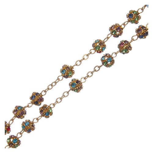 Gold rosary with strass grains multicoloured 6 mm 3