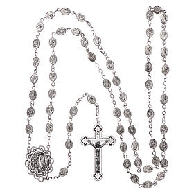 Rosary in metal Our Lady of Lourdes with Lourdes water 8x6 mm grains s4
