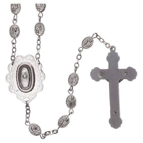 Rosary in metal Our Lady of Lourdes with Lourdes water 8x6 mm grains 2