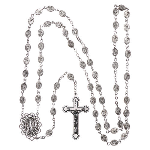 Rosary in metal Our Lady of Lourdes with Lourdes water 8x6 mm grains 4