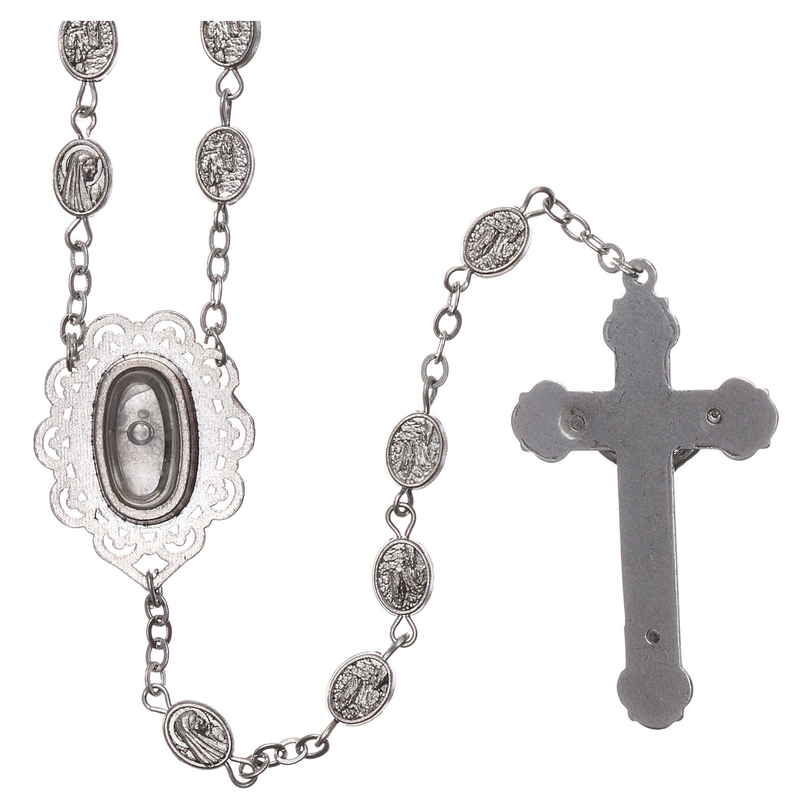 Terço metal Nossa Senhora de Lourdes água 8x6 mm 4