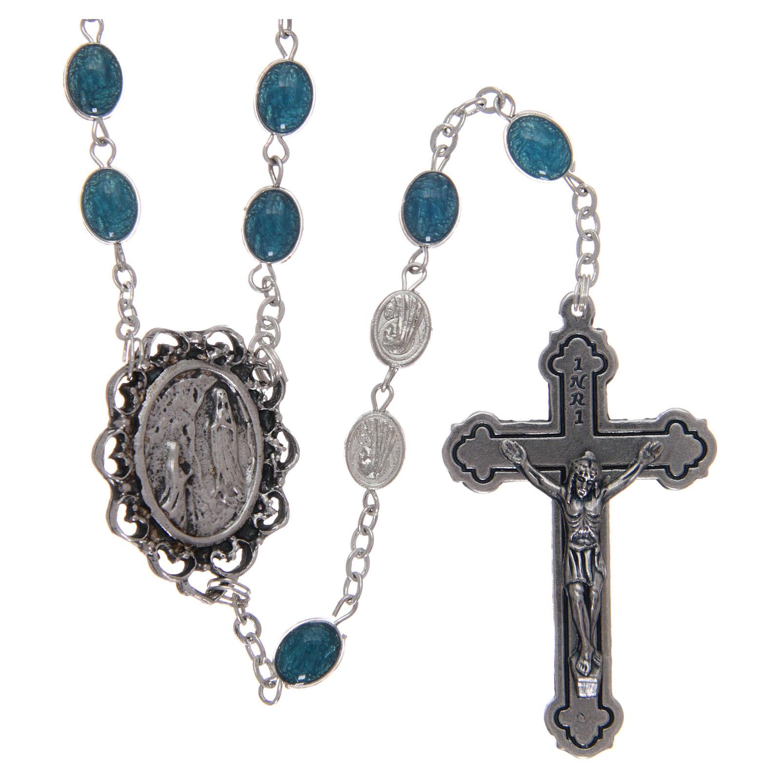 Rosario metallo Madonna di Lourdes con acqua 6x4 mm 4