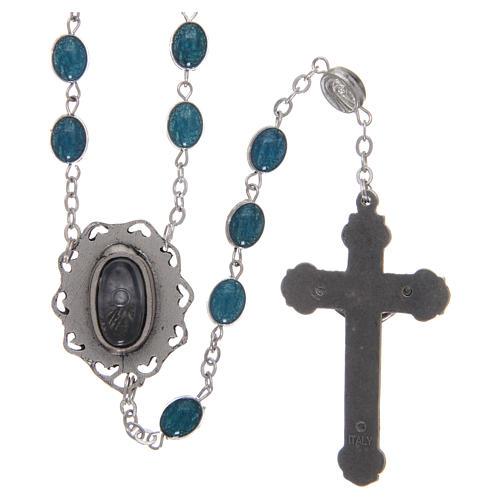 Rosario metallo Madonna di Lourdes con acqua 6x4 mm 2