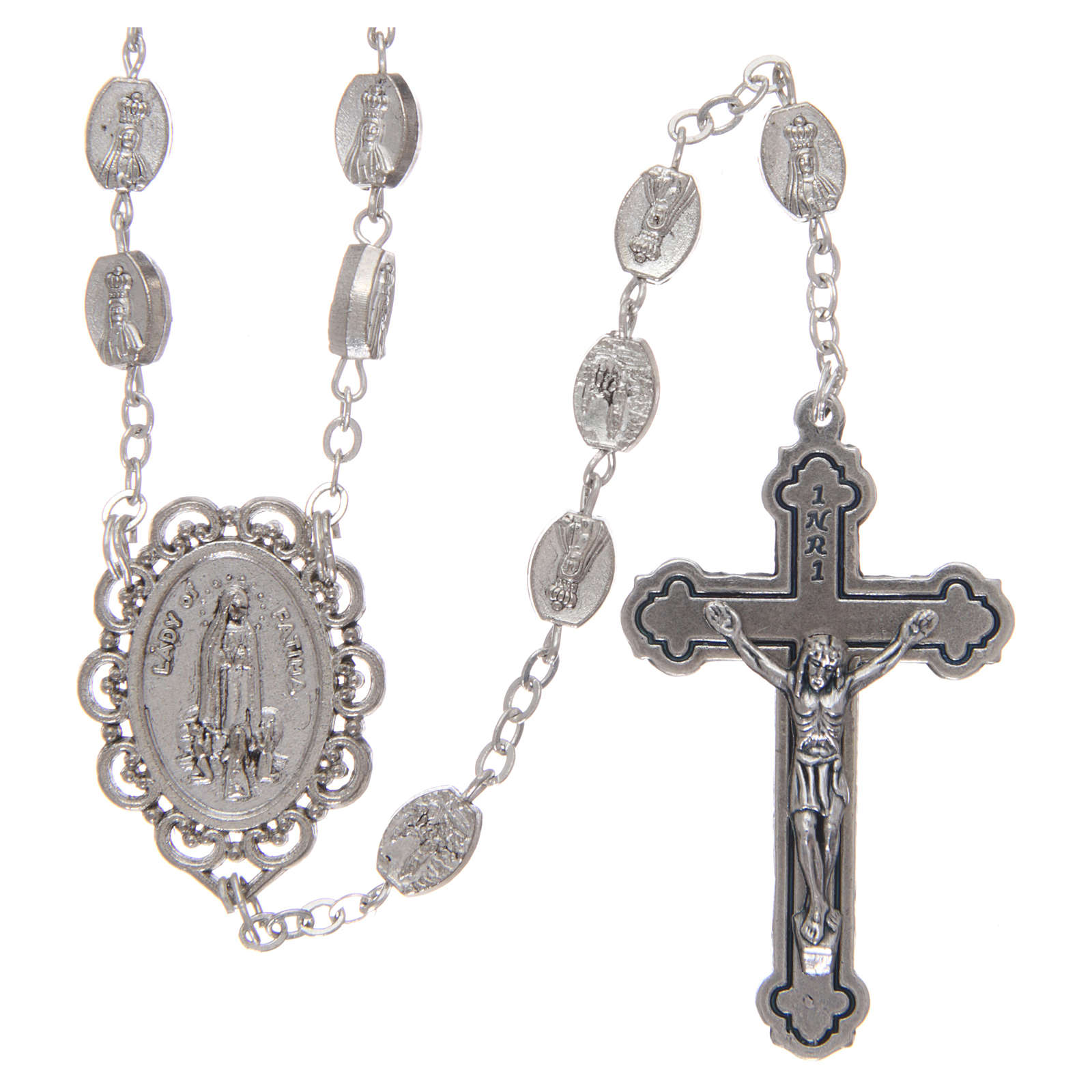 Rosary in metal Our Lady of Fatima 7x4 mm grains, antique silver effect 4
