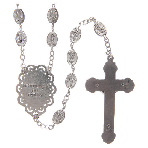 Rosary in metal Our Lady of Fatima 7x4 mm grains, antique silver effect 2