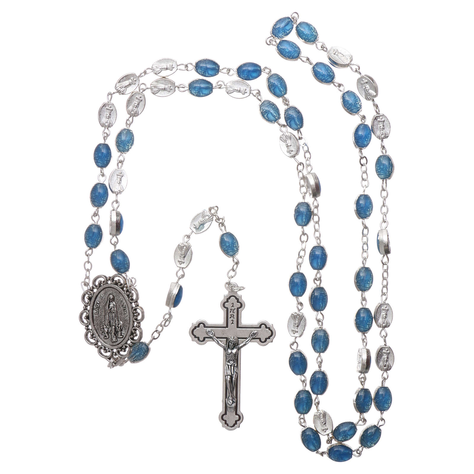 Chapelet métal Fatima terre 6x4 mm émail bleu 4
