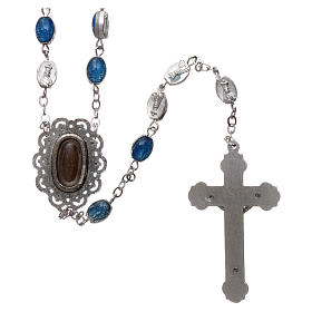 Chapelet métal Fatima terre 6x4 mm émail bleu s2