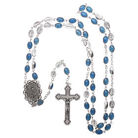 Chapelet métal Fatima terre 6x4 mm émail bleu s4