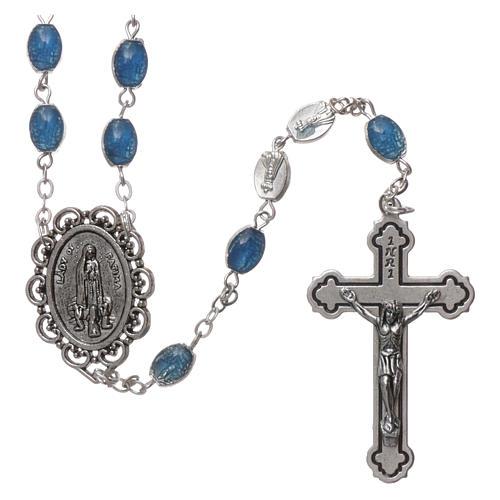 Chapelet métal Fatima terre 6x4 mm émail bleu 1