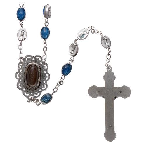 Chapelet métal Fatima terre 6x4 mm émail bleu 2