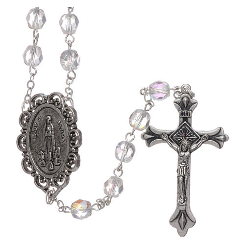 Rosary Our Lady of Fatima with Fatima soil 4x3 mm grains, crystal colour 1