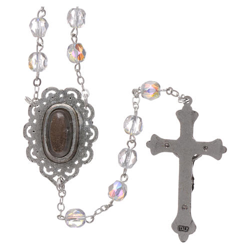 Rosary Our Lady of Fatima with Fatima soil 4x3 mm grains, crystal colour 2