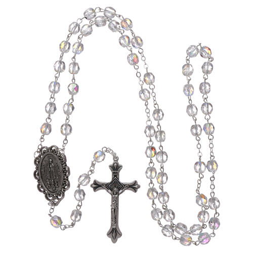Rosary Our Lady of Fatima with Fatima soil 4x3 mm grains, crystal colour 4