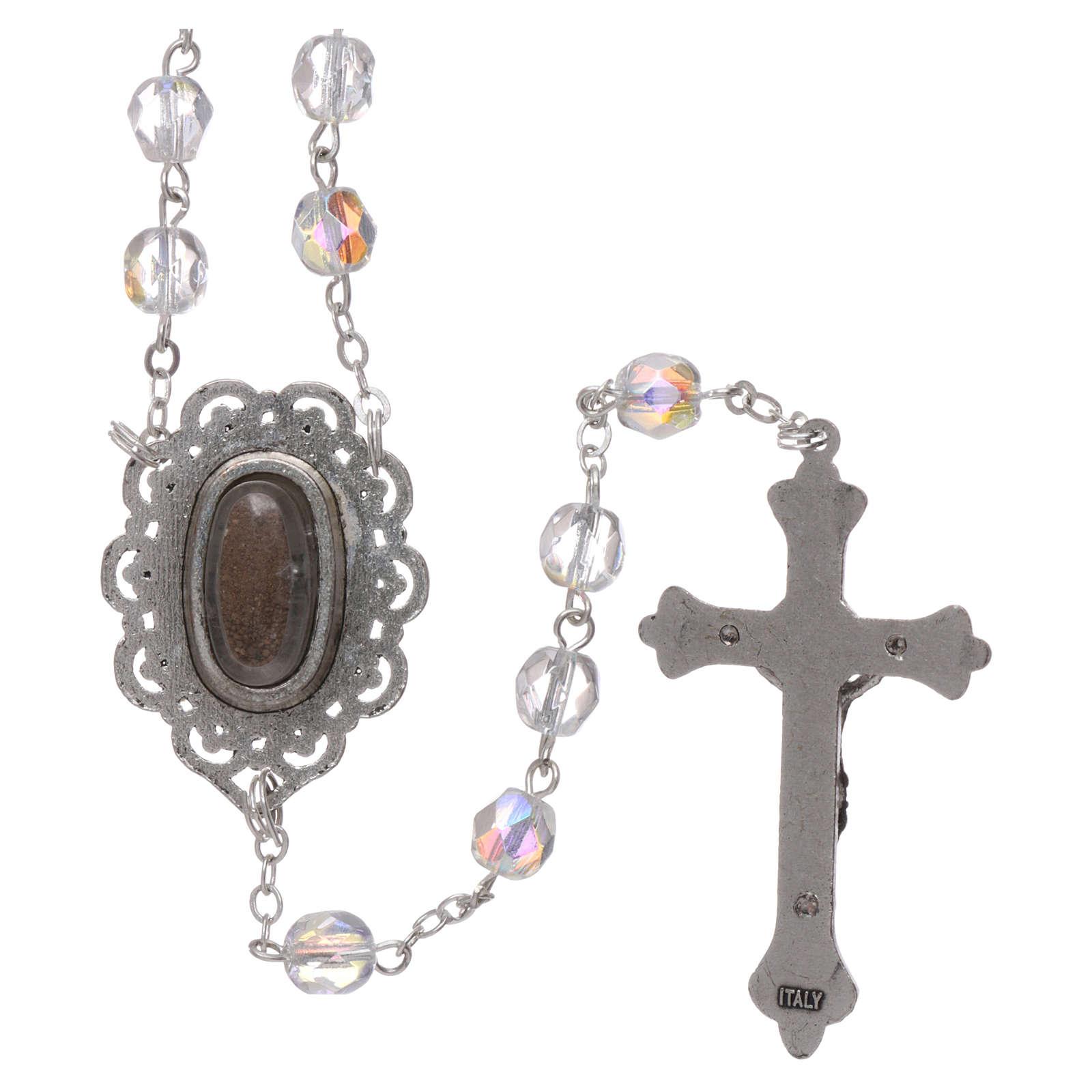 Różaniec półkryształ Fatima ziemia 4 mm kolor kryształowy 4