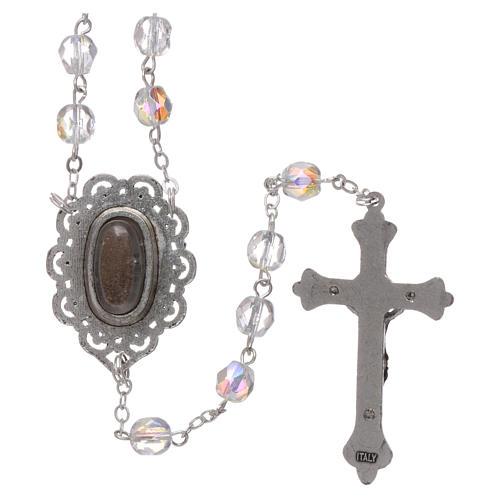 Różaniec półkryształ Fatima ziemia 4 mm kolor kryształowy 2