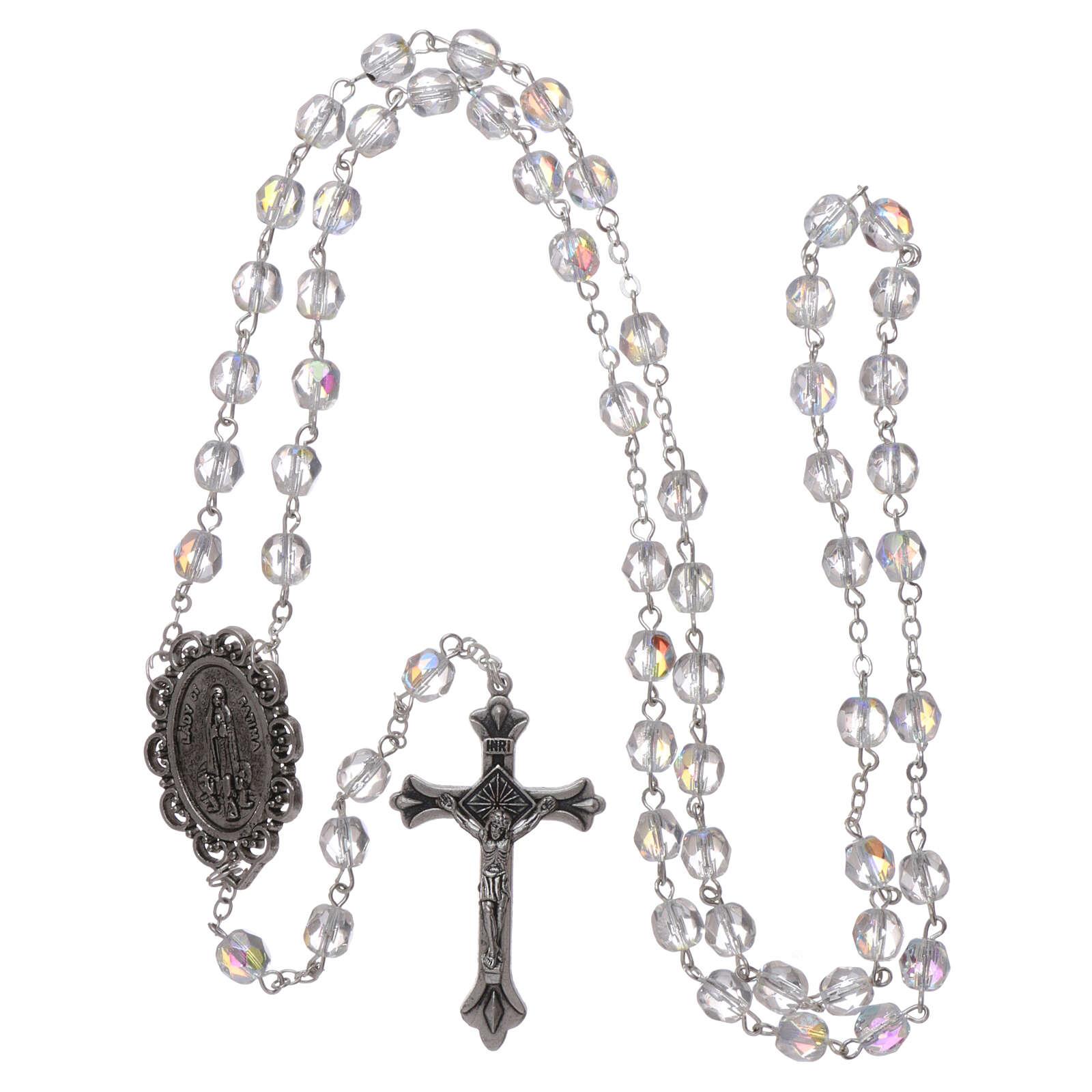 Crystal rosary Fatima soil dirt 4 mm transparent 4
