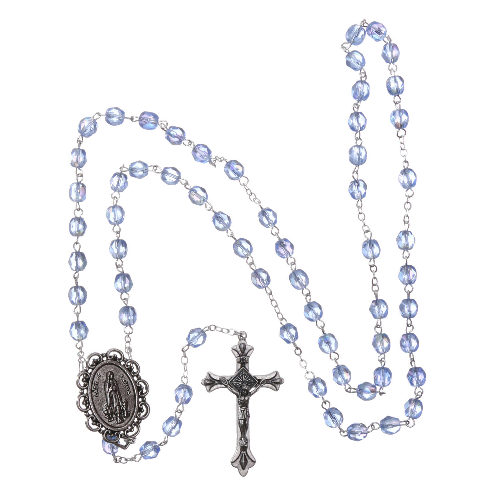 Rosary Our Lady of Fatima with Fatima soil 4x3 mm grains, blue 4