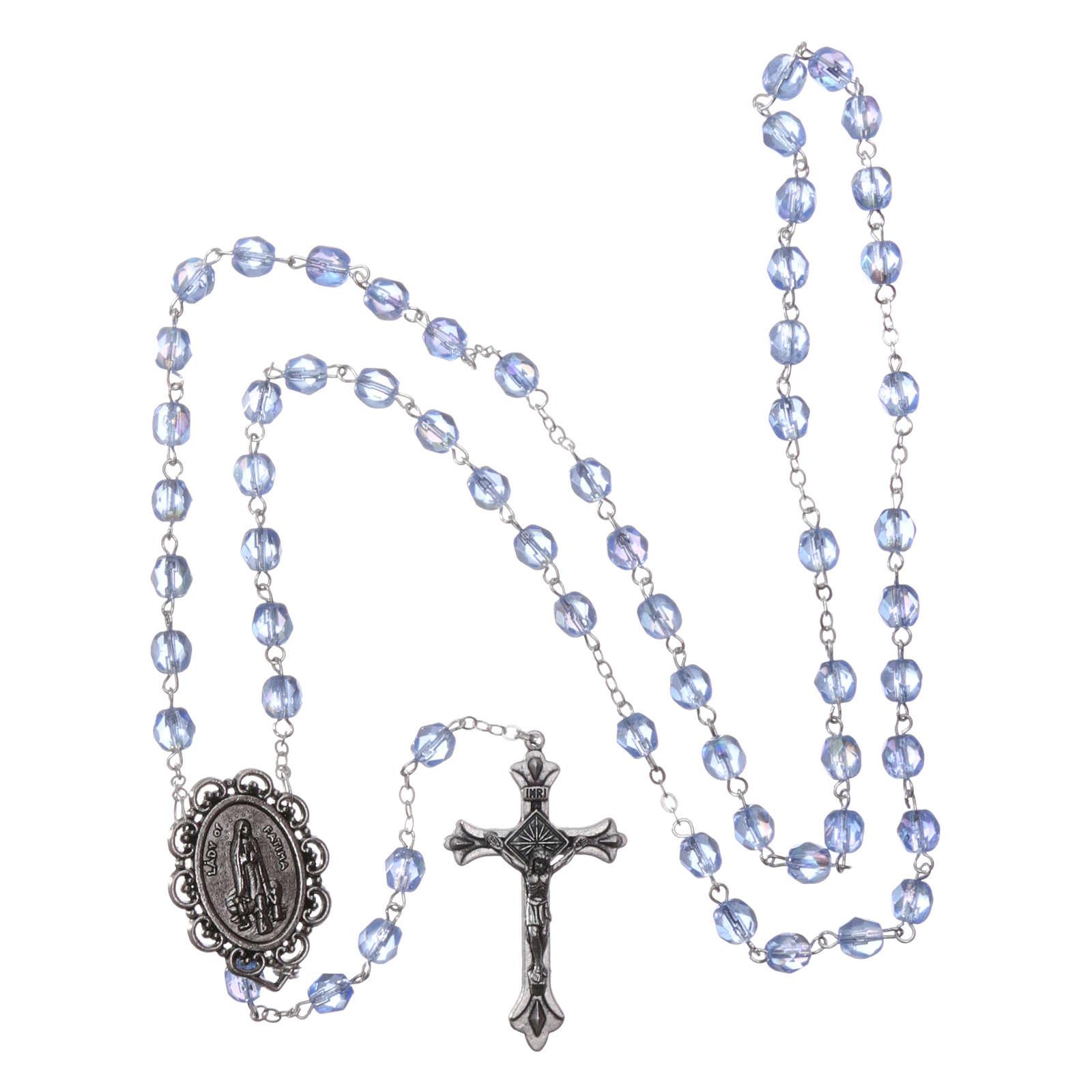 Chapelet semi-cristal Fatima terre 4 mm couleur bleu clair 4