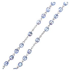 Chapelet semi-cristal Fatima terre 4 mm couleur bleu clair s3