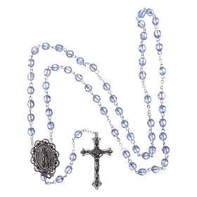 Chapelet semi-cristal Fatima terre 4 mm couleur bleu clair s4