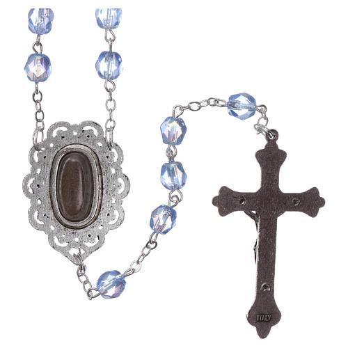 Chapelet semi-cristal Fatima terre 4 mm couleur bleu clair 2