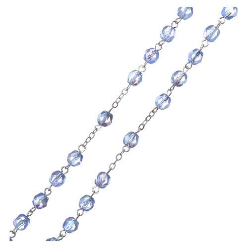 Chapelet semi-cristal Fatima terre 4 mm couleur bleu clair 3
