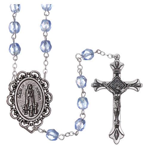 Crystal rosary Fatima soil dirt 4 mm light blue 1