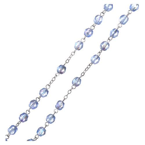Crystal rosary Fatima soil dirt 4 mm light blue 3