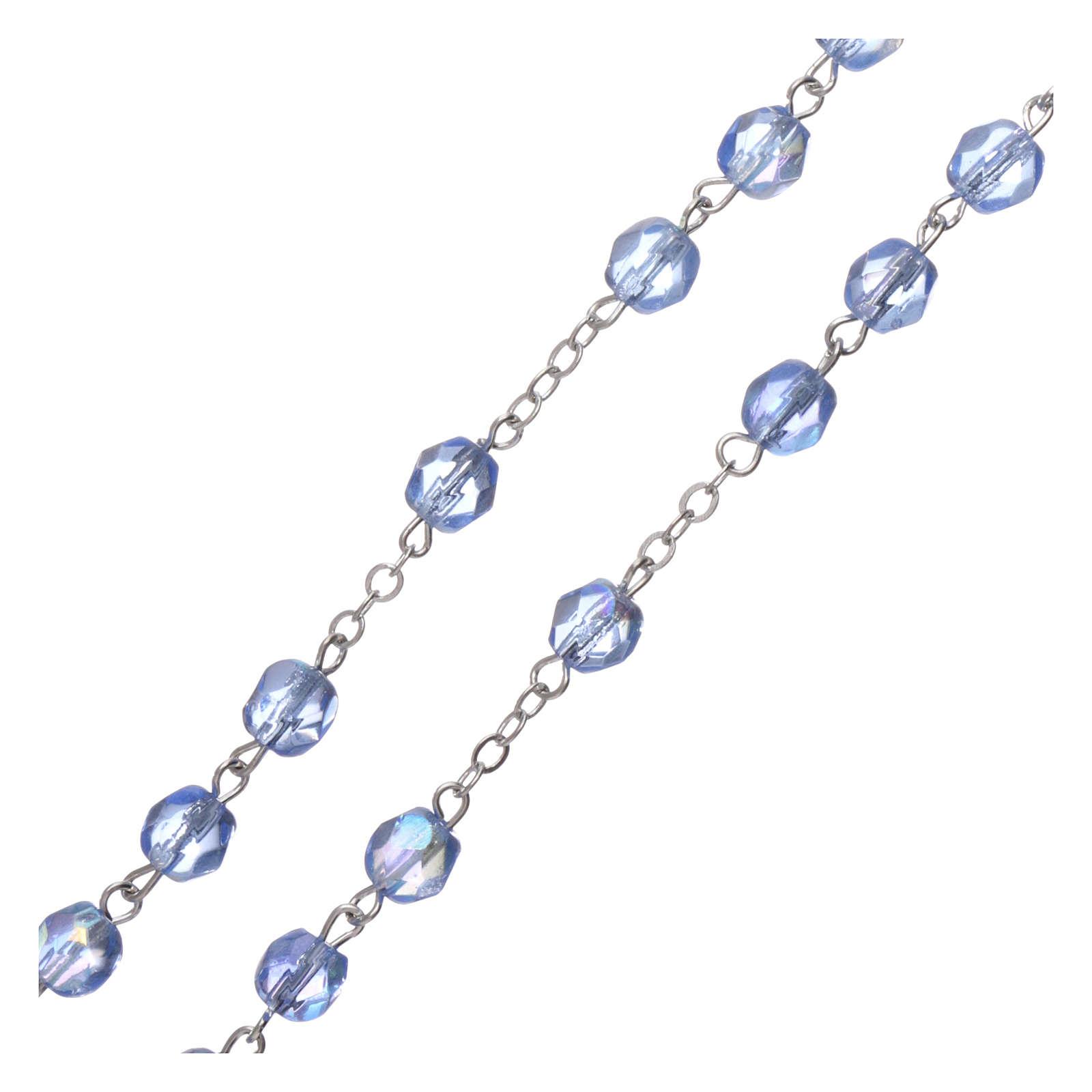 Chapelet semi-cristal Fatima terre 6x4 mm bleu clair 4