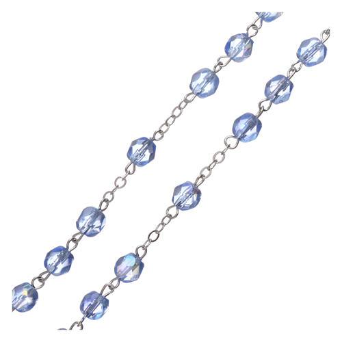 Chapelet semi-cristal Fatima terre 6x4 mm bleu clair 3