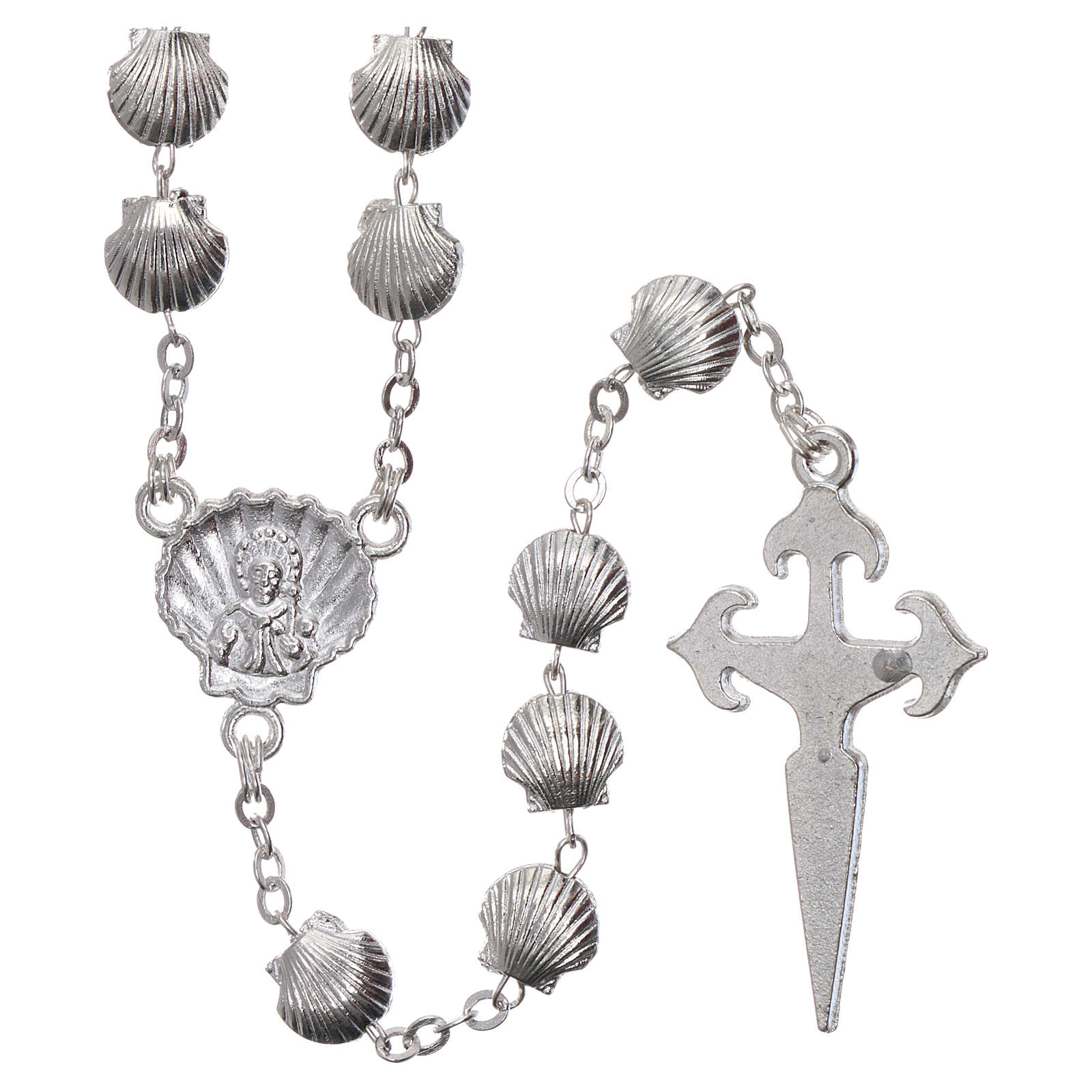 Rosary in zamak with 7x7 mm shell-shaped grains 4