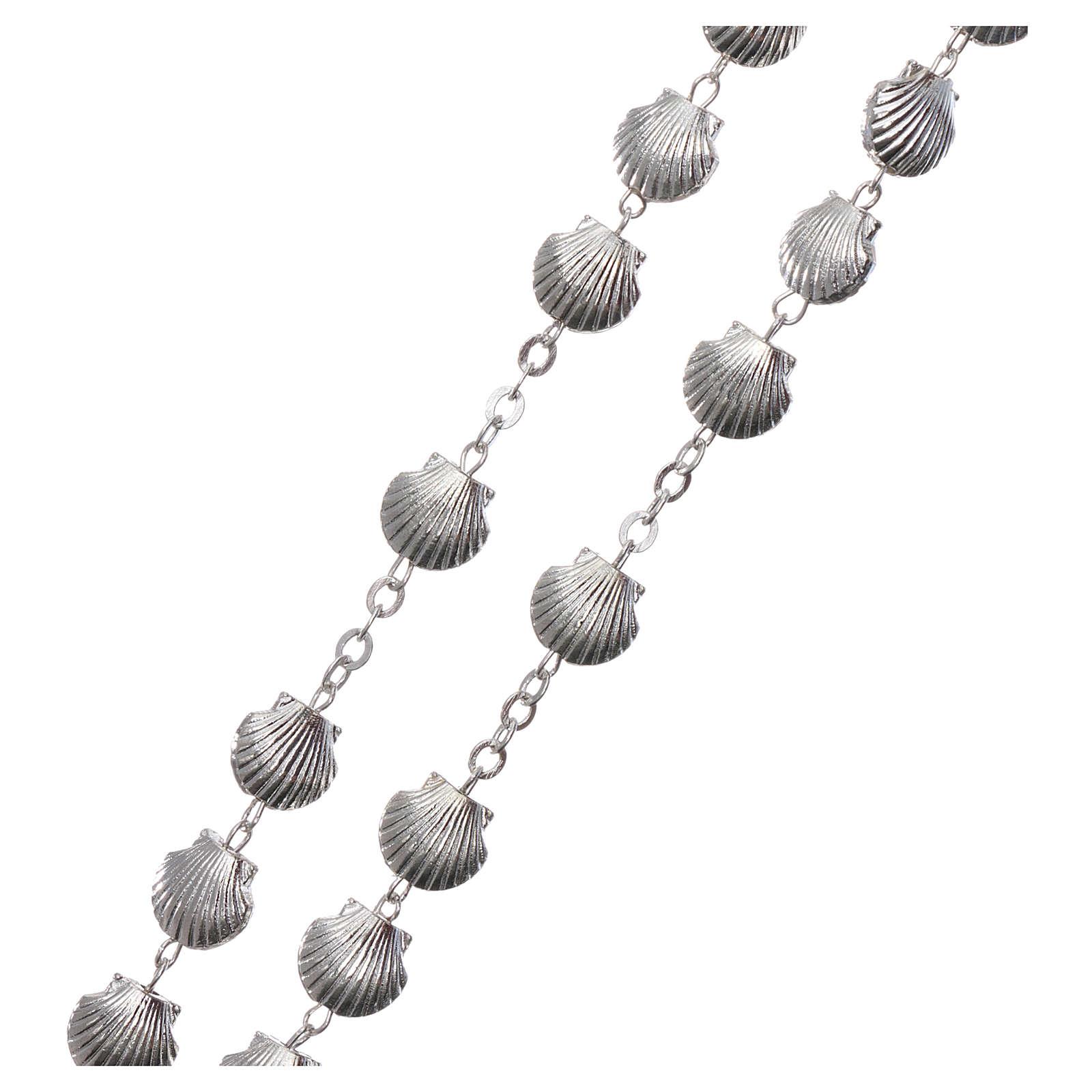 Rosario metallo devozionale grani a conchiglia in zama 7 mm 4