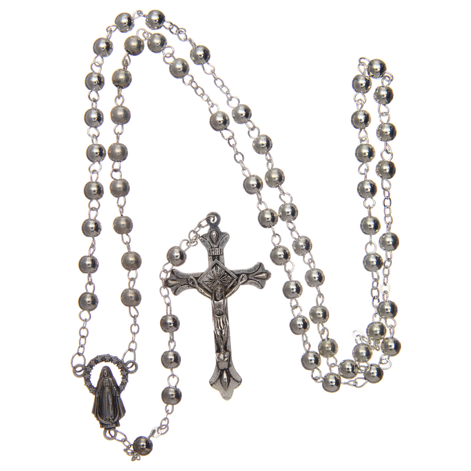 Rosary in silver-plated metal with handmade thread 5 mm 4