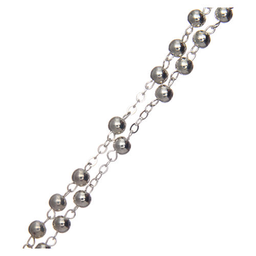 Rosary in silver-plated metal with handmade thread 5 mm 3