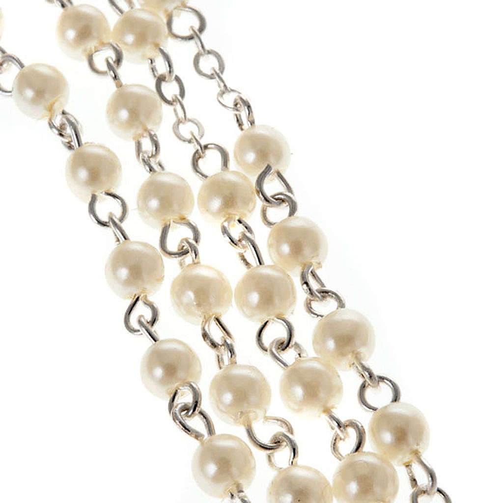 Imitation pearl rosary, First Communion 4mm 4