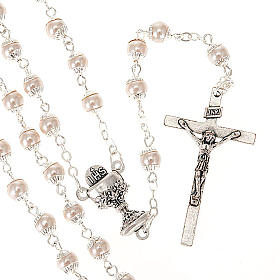 Imitation pearl rosaries: First Communion pearl effect rosary
