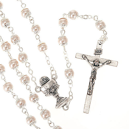 First Communion pearl effect rosary 1