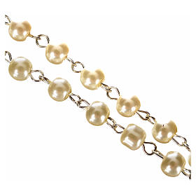 First Communion ivory pearl effect rosary s3