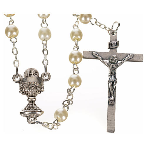 First Communion ivory pearl effect rosary 1