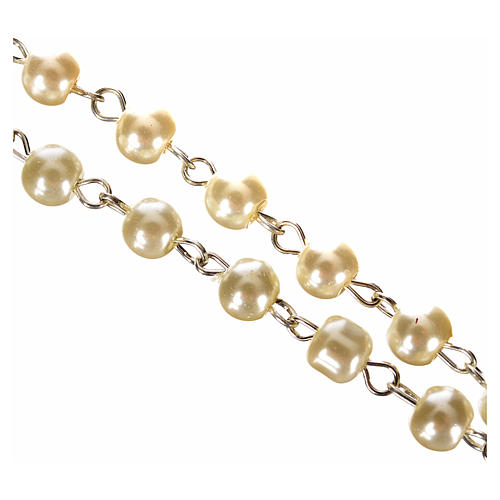 First Communion ivory pearl effect rosary 3